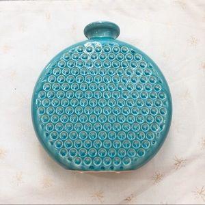 Vintage turquoise round vase. Excellent
